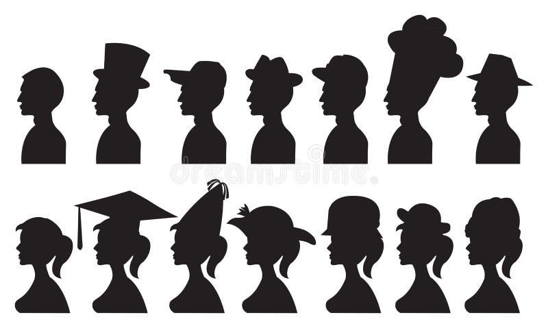 Vectorillustratie van Mensen in Verschillende Hoeden royalty-vrije illustratie