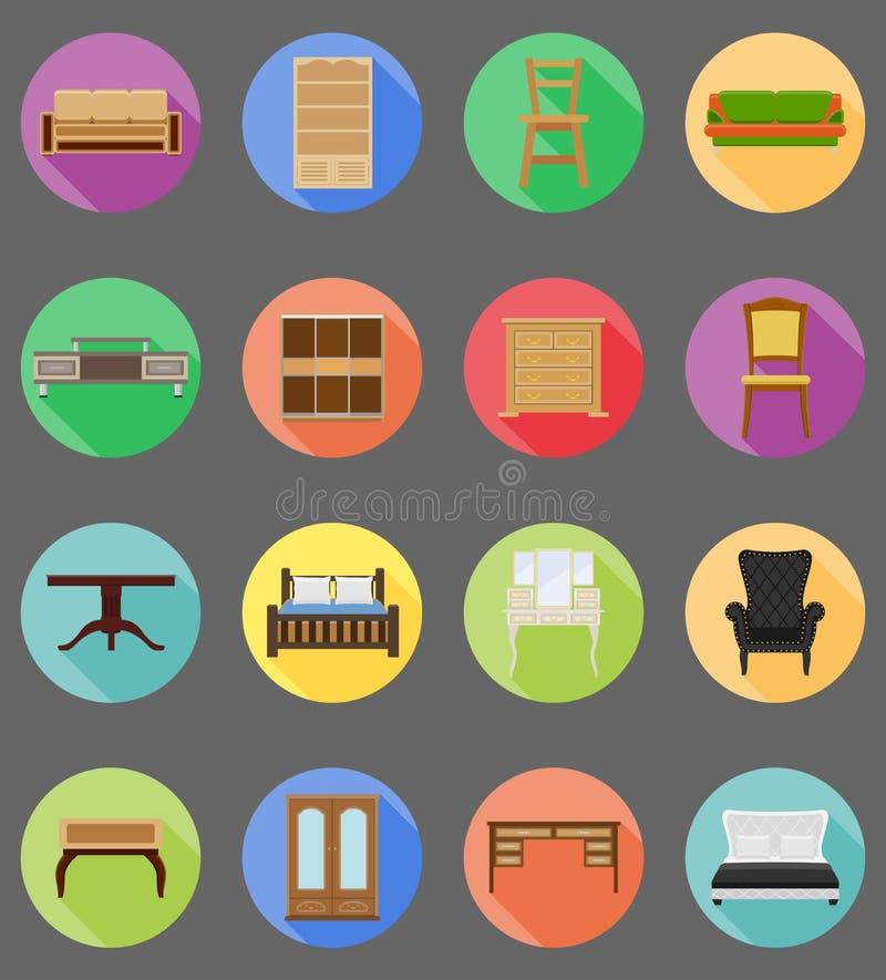 Vectorillustratie van meubilair de vastgestelde vlakke pictogrammen vector illustratie