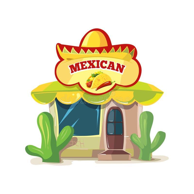 Vectorillustratie van Mexicaanse voedselbar of restaurant de bouwvoorgevel stock illustratie