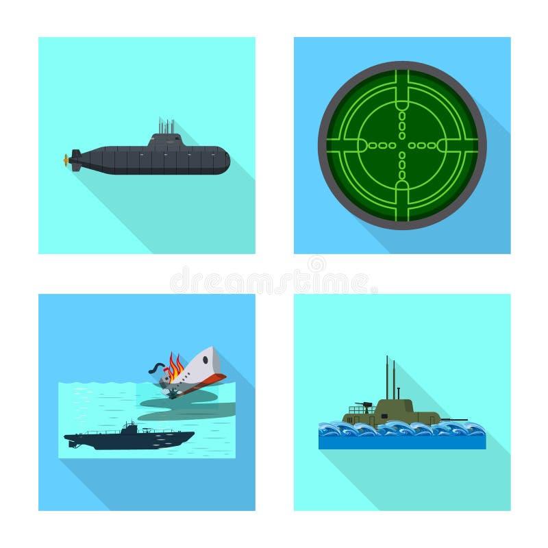 Vectorillustratie van militair en kernembleem Reeks van het symbool van de militaire en schipvoorraad voor Web vector illustratie