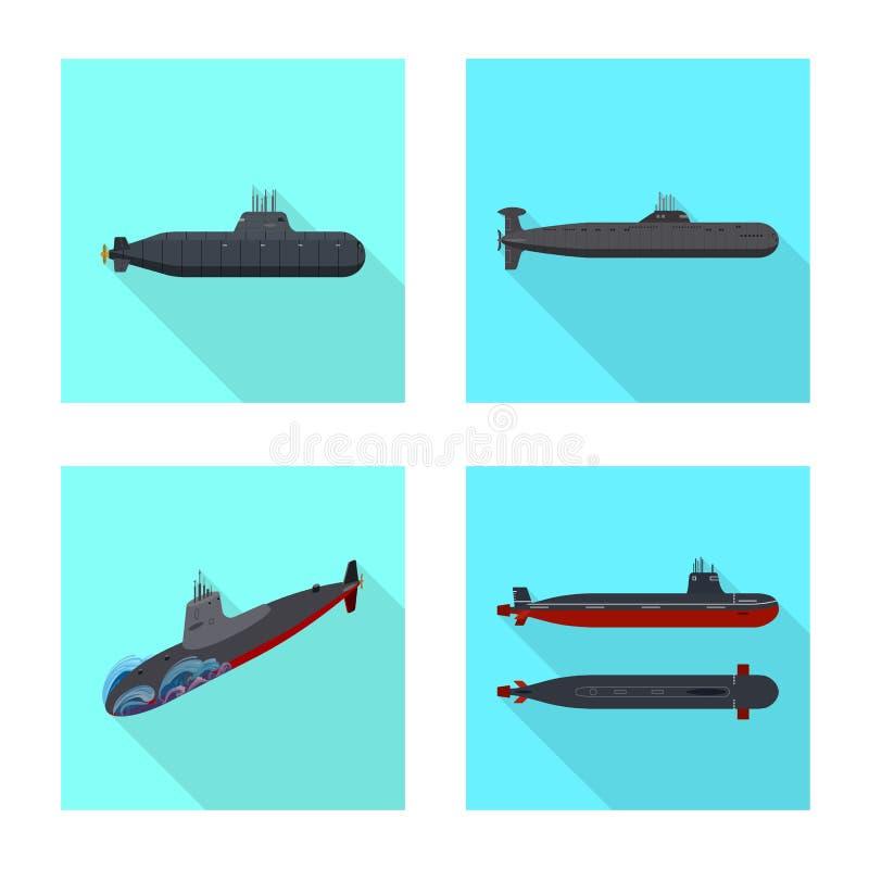 Vectorillustratie van militair en kernembleem Reeks van militair en schip vectorpictogram voor voorraad stock illustratie