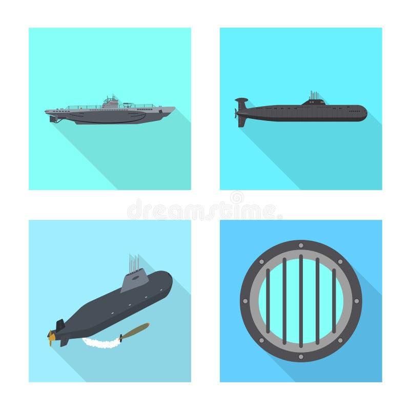 Vectorillustratie van militair en kernteken Inzameling van de vectorillustratie van de militaire en schipvoorraad stock illustratie