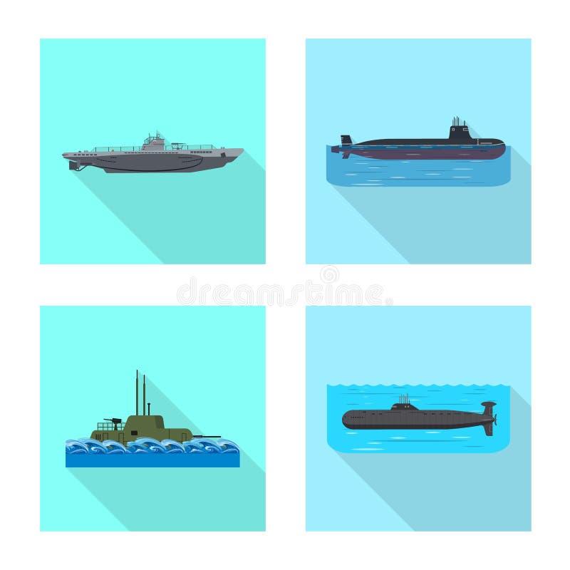 Vectorillustratie van militair en kernteken Inzameling van het symbool van de militaire en schipvoorraad voor Web royalty-vrije illustratie