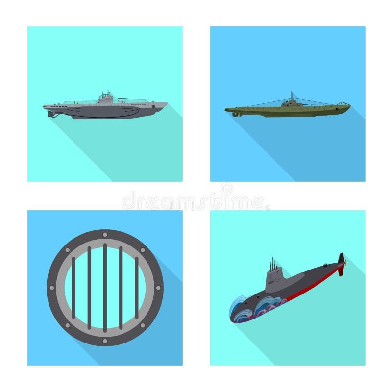 Vectorillustratie van militair en kernteken Reeks van militair en schip vectorpictogram voor voorraad royalty-vrije illustratie