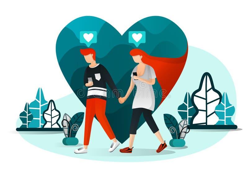 Vectorillustratie van millennial paar, huidige liefde, technologie, het sociale leven 4 0, paar die op datum babbelen Mens die me royalty-vrije illustratie