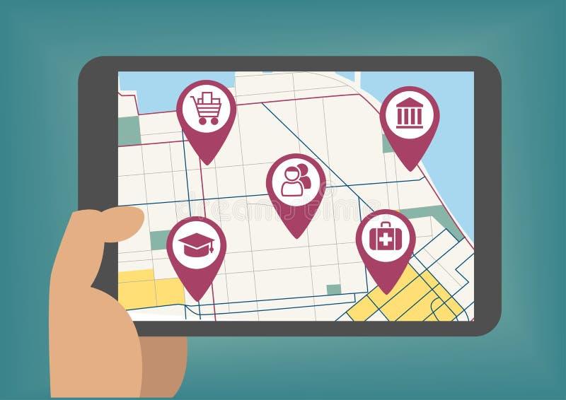 Vectorillustratie van mobiel kaartenconcept met de tablet van de handholding stock illustratie