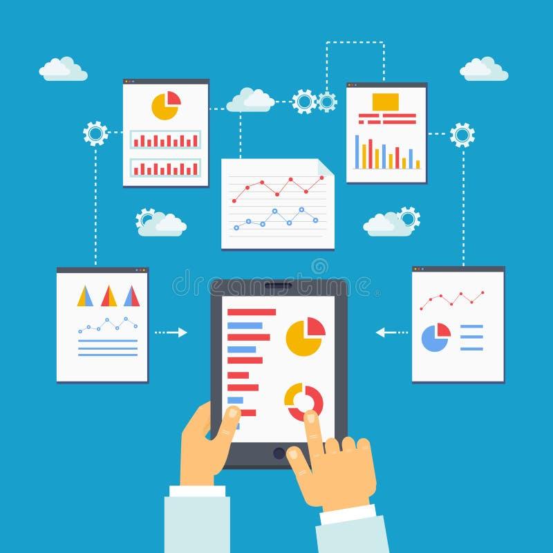 Vectorillustratie van mobiele optimalisering en analytics stock illustratie