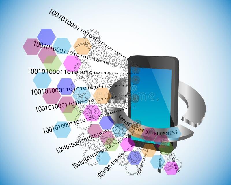 Vectorillustratie van Mobiele toepassingsontwikkeling stock illustratie