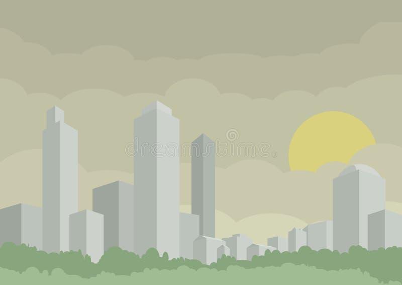 Vectorillustratie van moderne zilveren stad Gebouwen met ochtendzonneschijn Conceptueel 3d beeld royalty-vrije illustratie