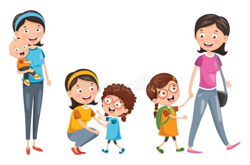 Vectorillustratie van Moeder` s Dag royalty-vrije illustratie