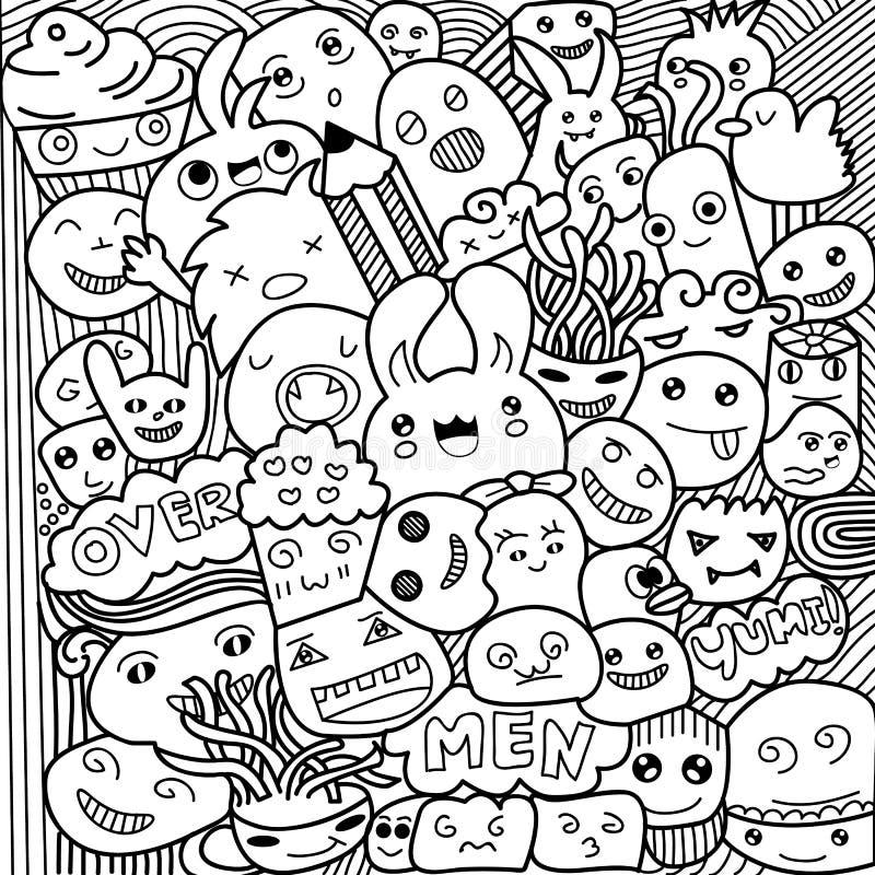 Vectorillustratie van Monsters en leuke vreemde vriendschappelijke, leuke hand-drawn vector illustratie