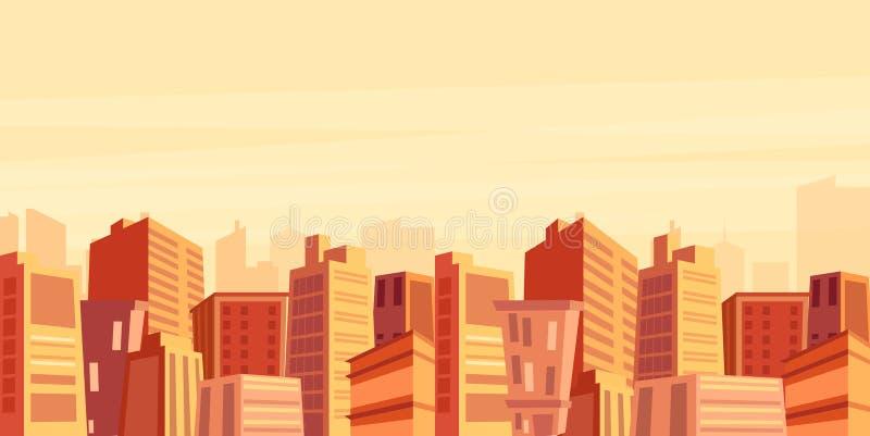 Vectorillustratie van mooie grote stadsmening met wolkenkrabbers in zonsondergangtijd, cityscape, modern stadsconcept in vlakte stock illustratie