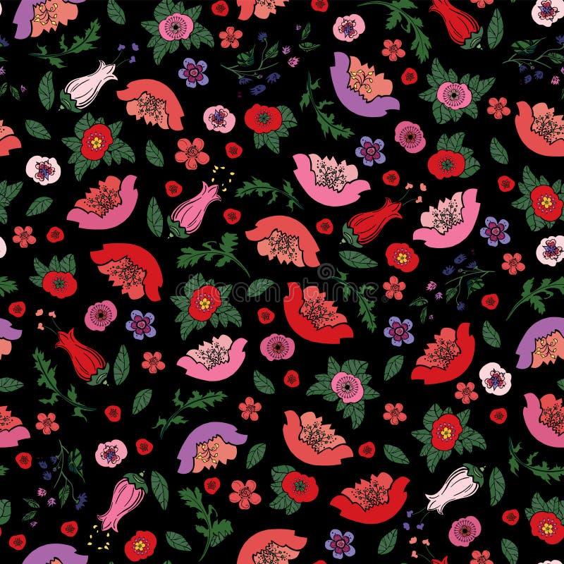 Vectorillustratie van mooie naadloze textuur van papavers en tulpen op de zwarte achtergrond stock illustratie