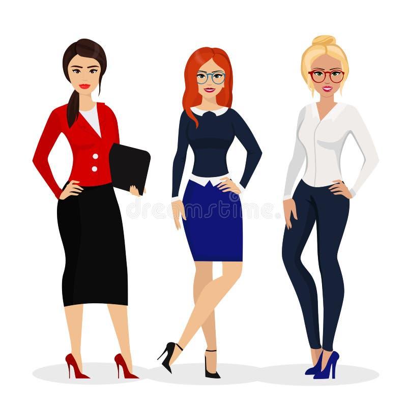 Vectorillustratie van mooie succesvolle onderneemster De arbeiders van bureaumeisjes in vlakke beeldverhaalstijl vector illustratie
