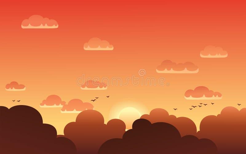 Vectorillustratie van mooie zonsonderganghemel stock illustratie