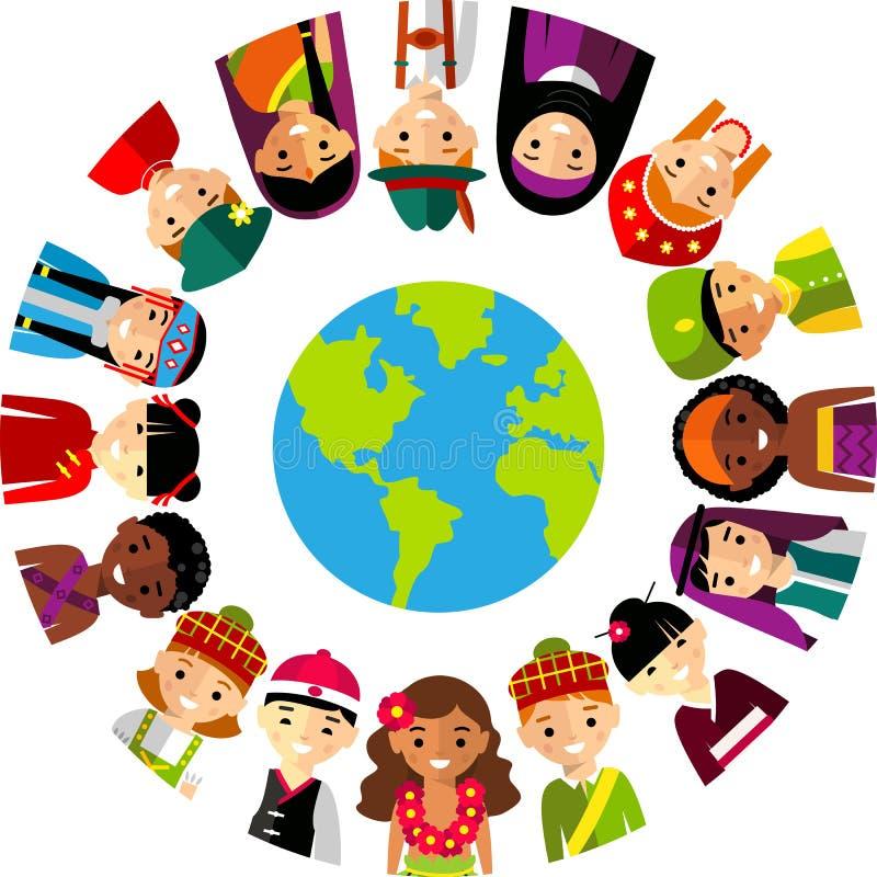 Vectorillustratie van multiculturele nationale kinderen, mensen op aarde