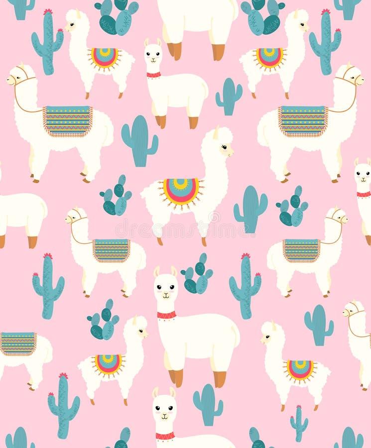 Vectorillustratie van naadloos patroon met de leuke alpaca van de beeldverhaallama met cactus en ontwerpelementen op roze royalty-vrije illustratie