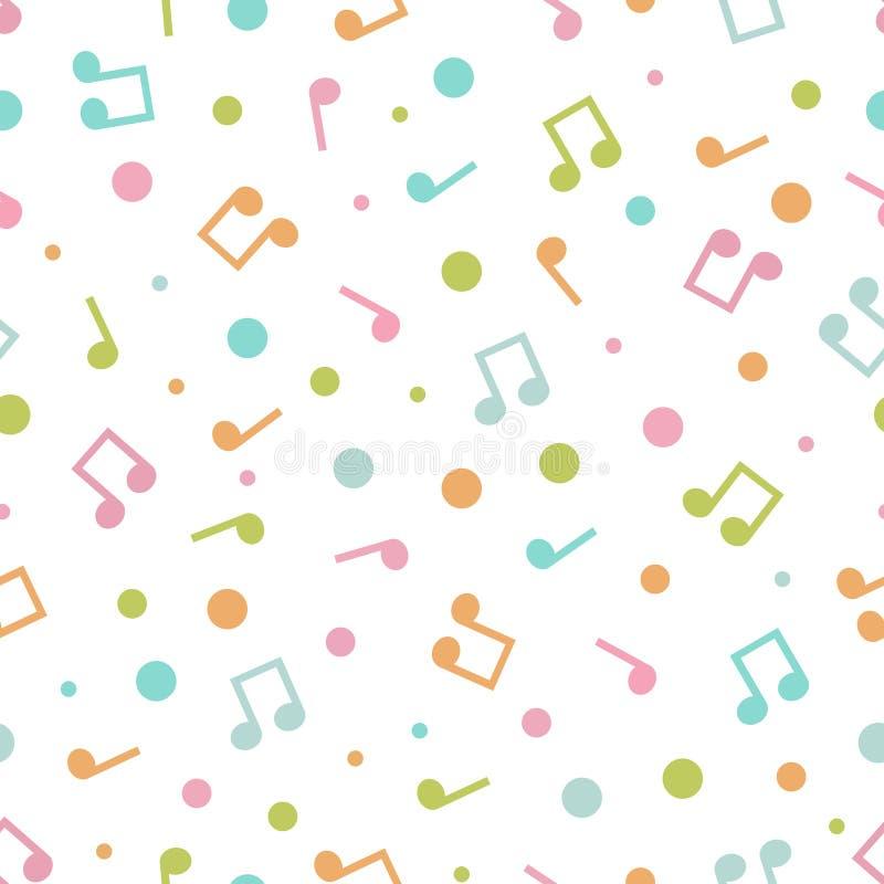 Vectorillustratie van naadloos patroon van muzieknota's en cirkels vector illustratie