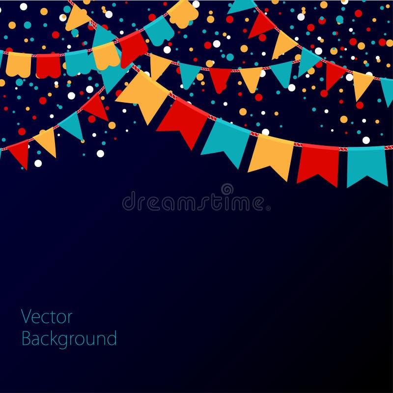 Vectorillustratie van nachthemel met kleurrijke vlaggenslingers Vakantieachtergrond met plaats voor tekst stock illustratie