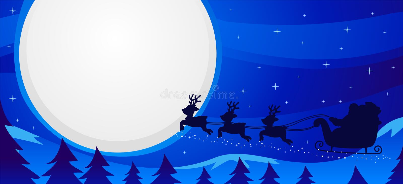 Vectorillustratie van Nachtscène Santa Sleigh Flying stock illustratie