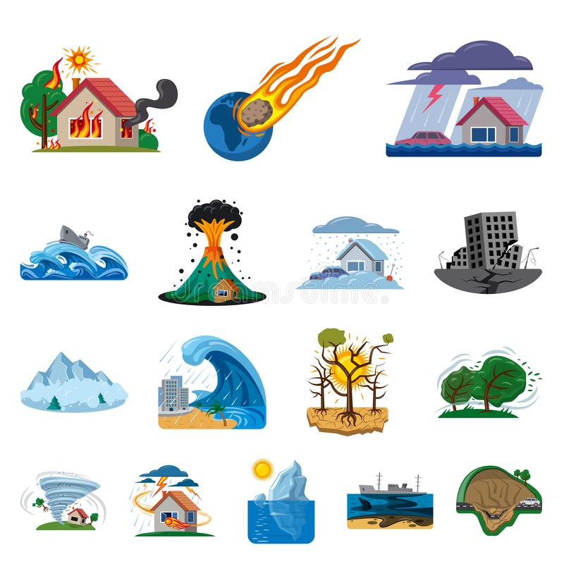 Vectorillustratie van natuurlijk en rampenembleem Inzameling van het symbool van de natuurlijke en risicovoorraad voor Web royalty-vrije illustratie