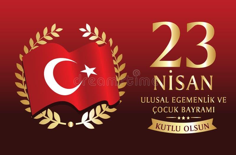 Vectorillustratie van nisan cocukbayrami 23, vertaling: Turks 23 April de Nationale Soevereiniteit en Dag van Kinderen vector illustratie