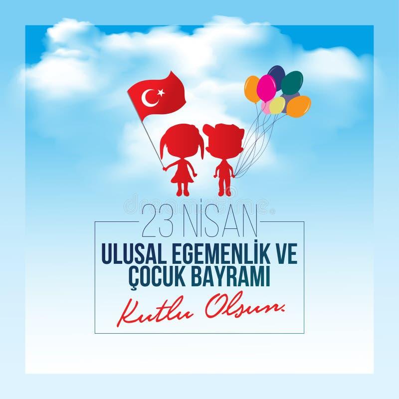 Vectorillustratie van nisan cocukbayrami 23, vertaling: Turks 23 April Nationale Soevereiniteit en grafische Kinderen` s Dag, vector illustratie