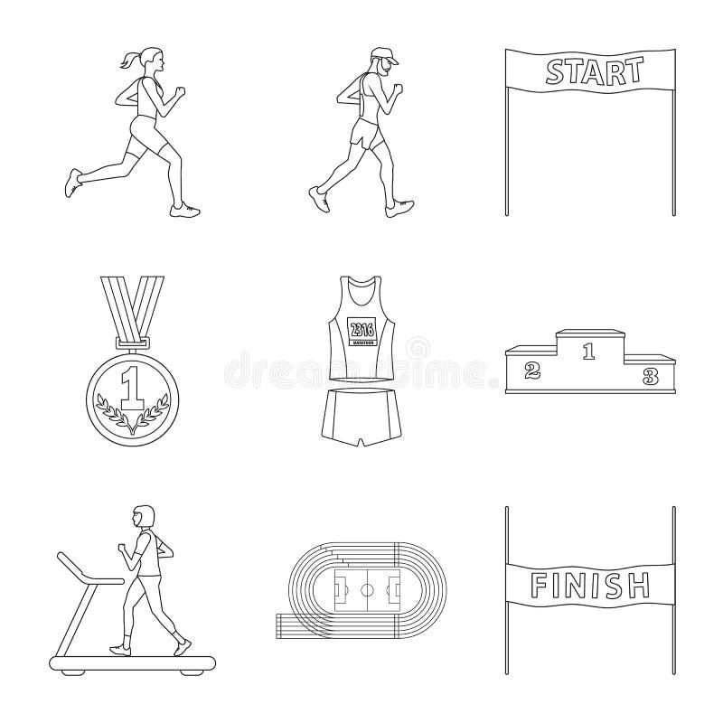 Vectorillustratie van oefening en sprinterembleem Inzameling van oefening en marathonvoorraadsymbool voor Web royalty-vrije illustratie
