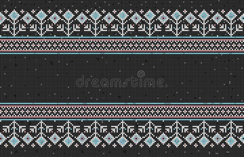 Vectorillustratie van Oekraïens volks naadloos patroonornament als tegels, mozaïek, lapwerk Etnisch ornament Grens vector illustratie