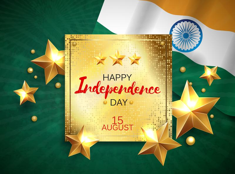 Vectorillustratie van Onafhankelijkheidsdag van de banner van India met Indische vlagtricolor royalty-vrije illustratie