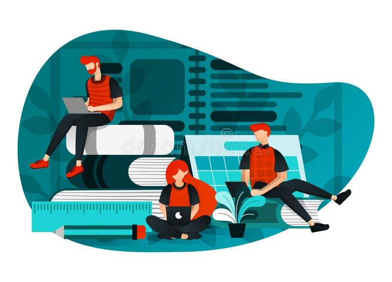 Vectorillustratie van onderwijs 4 0, het leren de industrierevolutie, studie in Internet groep die mensen gebruikend laptop, laat stock illustratie