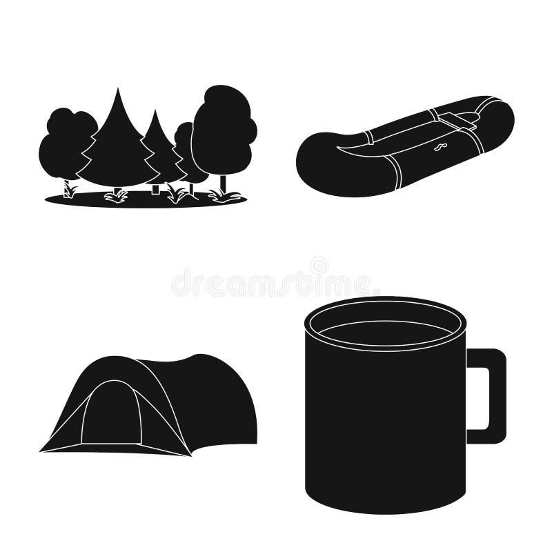 Vectorillustratie van ontspanning en rust embleem Inzameling van ontspanning en de vectorillustratie van de avonturenvoorraad stock illustratie