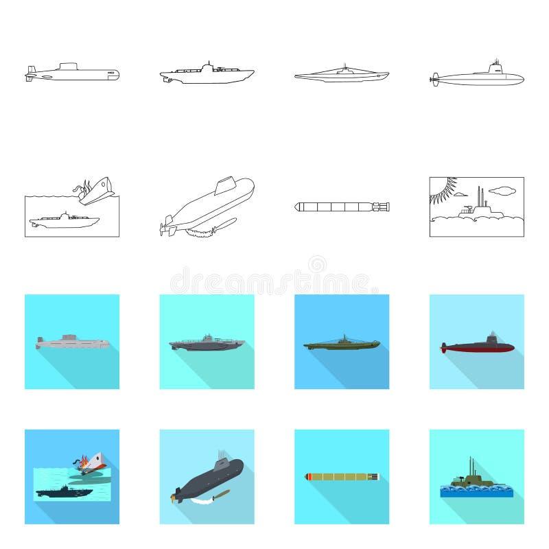 Vectorillustratie van oorlog en schipembleem Inzameling van oorlog en de vectorillustratie van de vlootvoorraad stock illustratie