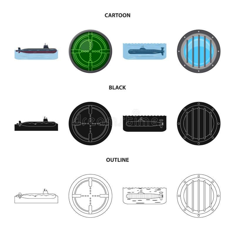 Vectorillustratie van oorlog en schipembleem Inzameling van oorlog en het symbool van de vlootvoorraad voor Web royalty-vrije illustratie