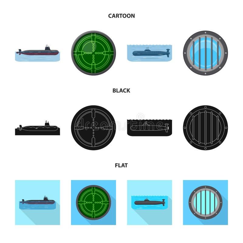 Vectorillustratie van oorlog en schipembleem Inzameling van oorlog en vloot vectorpictogram voor voorraad vector illustratie
