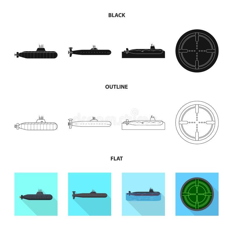 Vectorillustratie van oorlog en schipembleem Inzameling van oorlog en vloot vectorpictogram voor voorraad stock illustratie