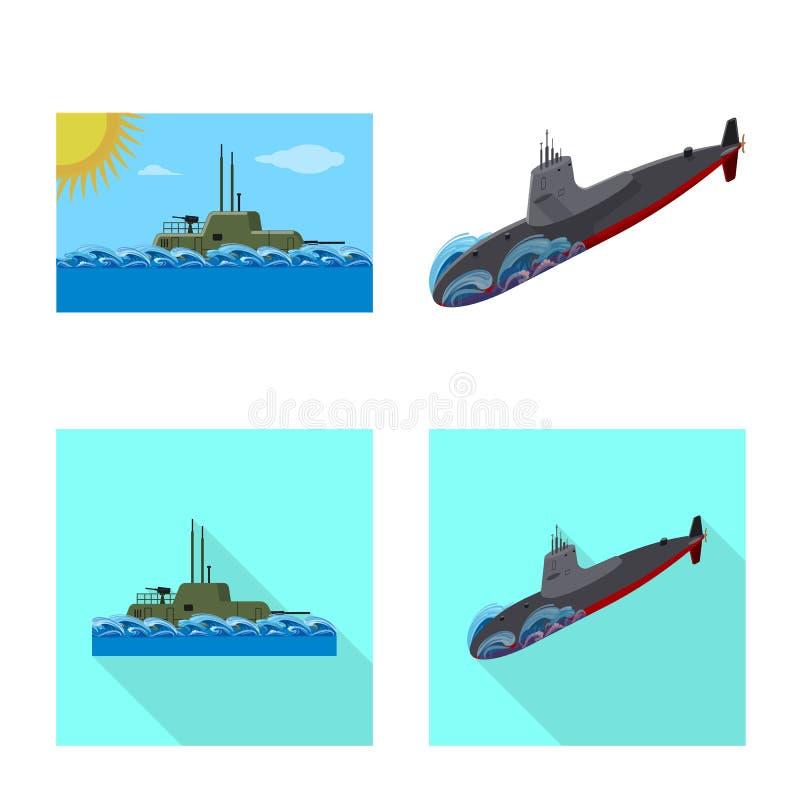 Vectorillustratie van oorlog en schipembleem Reeks van oorlog en de vectorillustratie van de vlootvoorraad stock illustratie