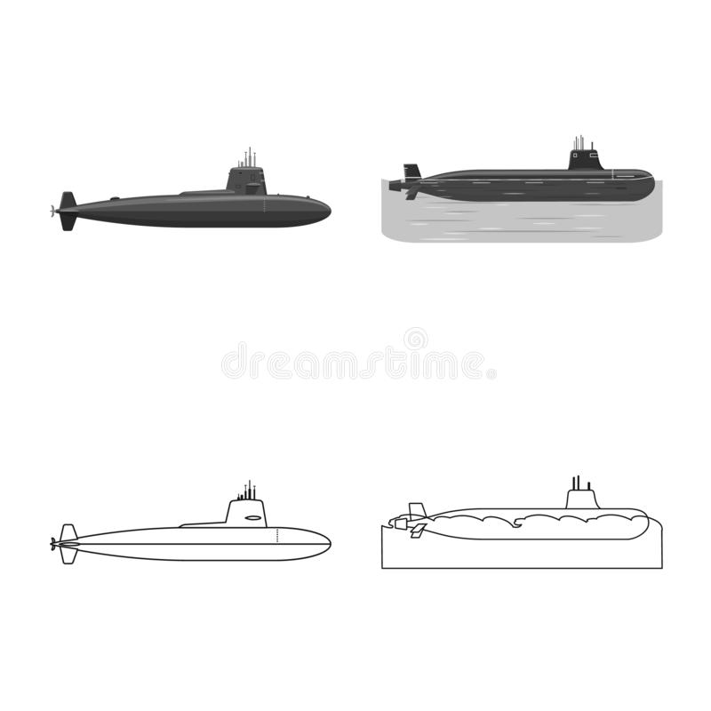 Vectorillustratie van oorlog en schipembleem Reeks van oorlog en de vectorillustratie van de vlootvoorraad royalty-vrije illustratie