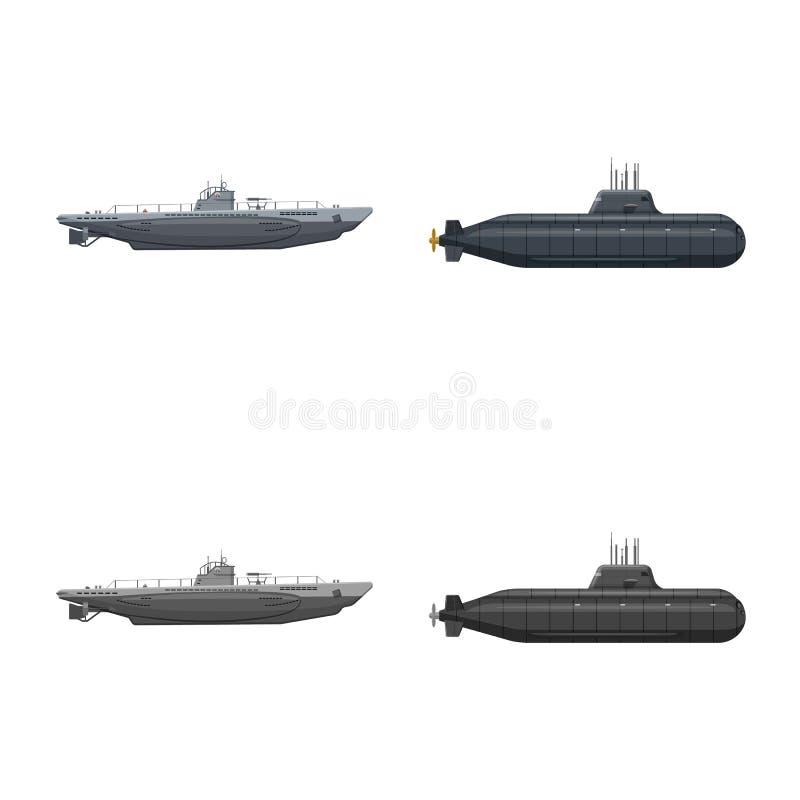 Vectorillustratie van oorlog en schipembleem Reeks van oorlog en het symbool van de vlootvoorraad voor Web royalty-vrije illustratie