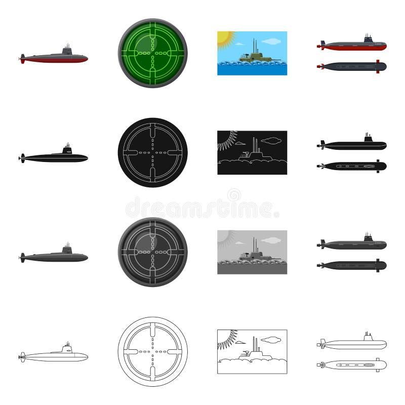 Vectorillustratie van oorlog en schipembleem Reeks van oorlog en vloot vectorpictogram voor voorraad stock illustratie