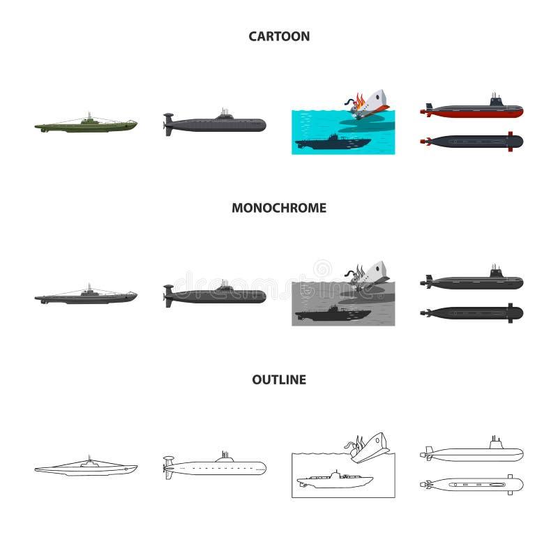 Vectorillustratie van oorlog en schipembleem Reeks van oorlog en vloot vectorpictogram voor voorraad vector illustratie