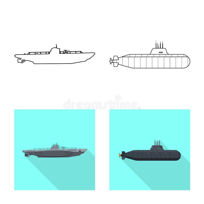 Vectorillustratie van oorlog en schippictogram Inzameling van oorlog en het symbool van de vlootvoorraad voor Web vector illustratie