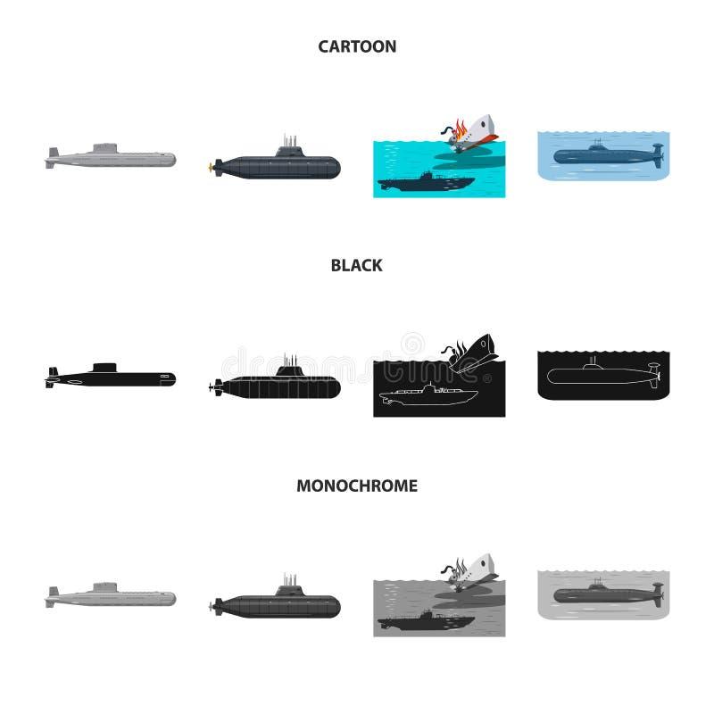 Vectorillustratie van oorlog en schippictogram Inzameling van oorlog en vloot vectorpictogram voor voorraad stock illustratie