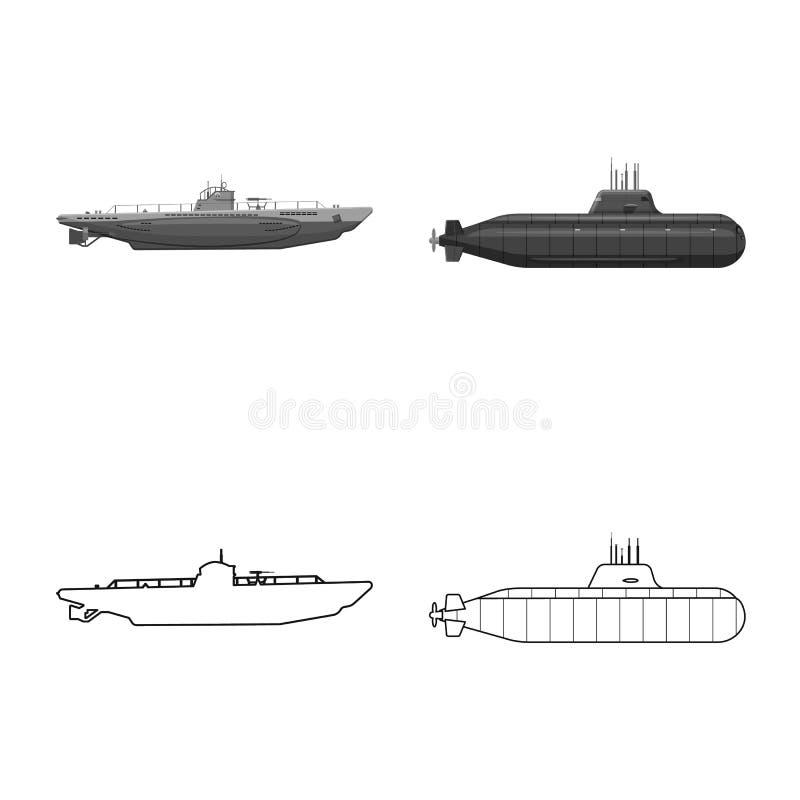 Vectorillustratie van oorlog en schippictogram Inzameling van oorlog en vloot vectorpictogram voor voorraad royalty-vrije illustratie
