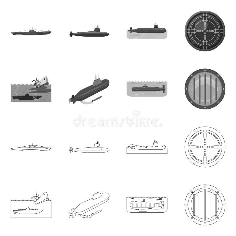 Vectorillustratie van oorlog en schippictogram Inzameling van oorlog en vloot vectorpictogram voor voorraad vector illustratie