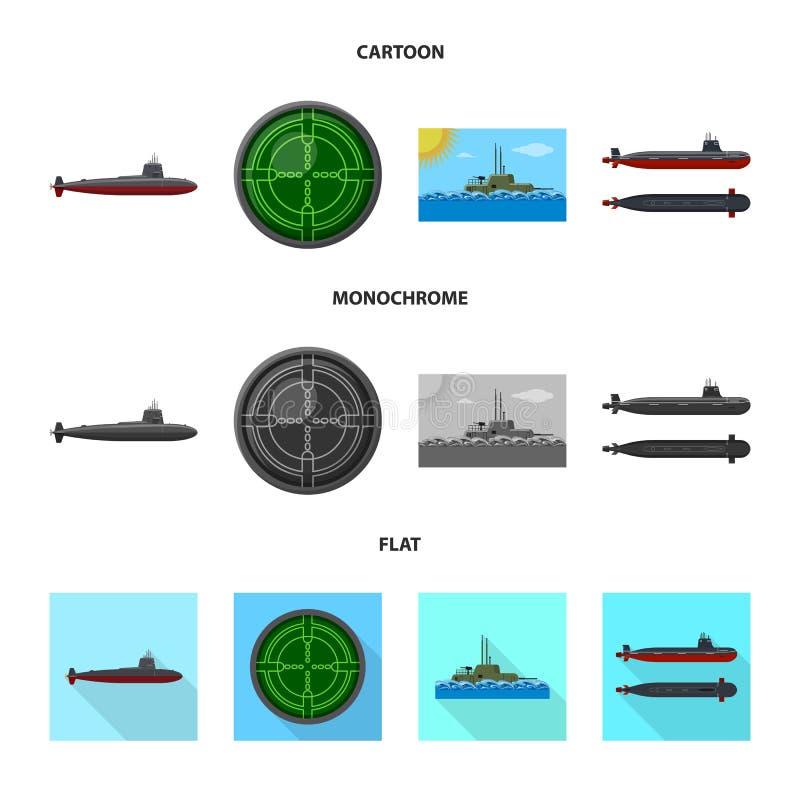 Vectorillustratie van oorlog en schippictogram Reeks van oorlog en de vectorillustratie van de vlootvoorraad royalty-vrije illustratie