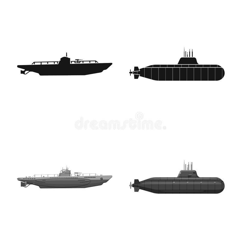 Vectorillustratie van oorlog en schippictogram Reeks van oorlog en de vectorillustratie van de vlootvoorraad vector illustratie