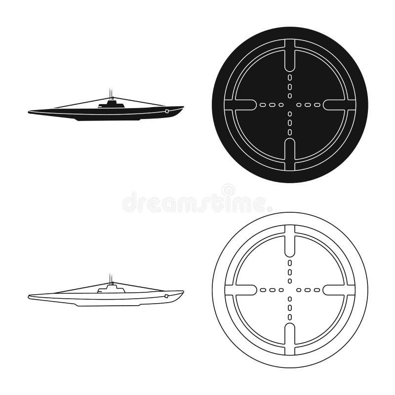 Vectorillustratie van oorlog en schippictogram Reeks van oorlog en het symbool van de vlootvoorraad voor Web stock illustratie