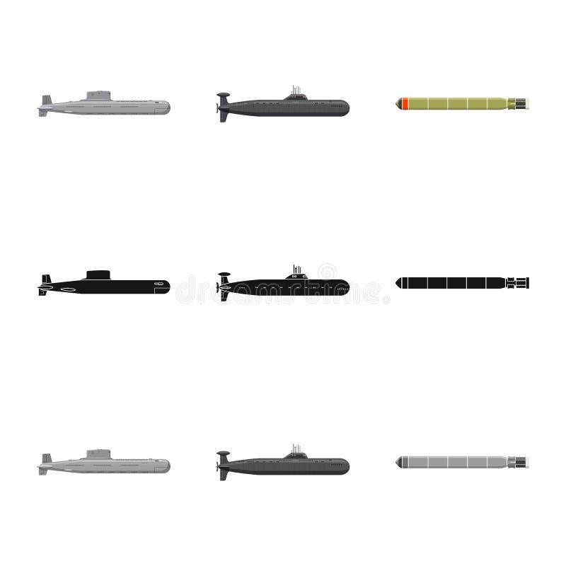 Vectorillustratie van oorlog en schippictogram Reeks van oorlog en het symbool van de vlootvoorraad voor Web vector illustratie