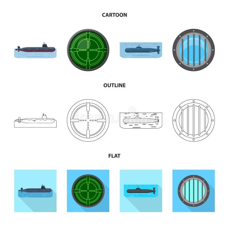 Vectorillustratie van oorlog en schipsymbool Inzameling van oorlog en het symbool van de vlootvoorraad voor Web stock illustratie